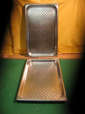 """Lot Of 2 Full Size Perforated Steam Table Pans 1-1/2"""" Deep"""