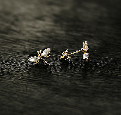585/14k Russian Rose Gold  Dragonfly Stud Earrings Gift Boxed