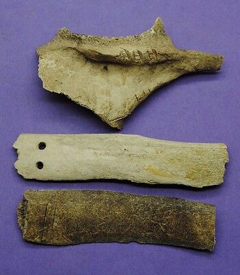 Group of 3 Thames found objects with strange carved lines and holes