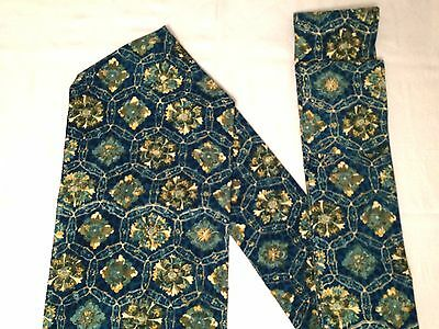 Vintage authentic Japanese Nagoya obi for kimono, blue/flowers pattern (H555)