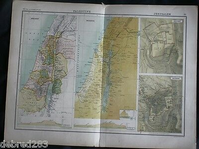 ANTIQUE MAPS OF PALESTINE. Early 1900s ex Citizen's Atlas. J. Bartholomew.