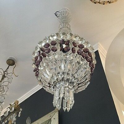 Large Vintage Murano Chandelier With Crystals
