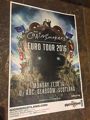 The Chainsmokers - Rare Gig / Concert poster, Glasgow,  Oct 2016