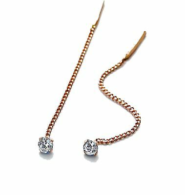 585 Russian Rose Gold 14k Pull Through Threader Drop Earrings gift boxed