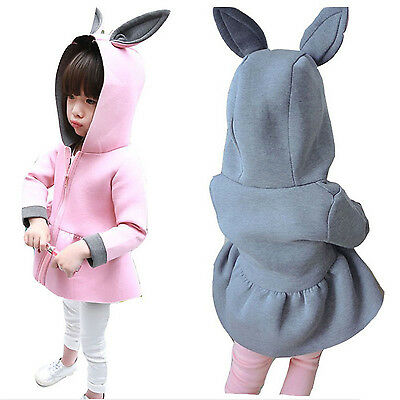 Lovely Toddler Baby Girls Hooded Rabbit Coat Comfortable Cotton Dress Clothes
