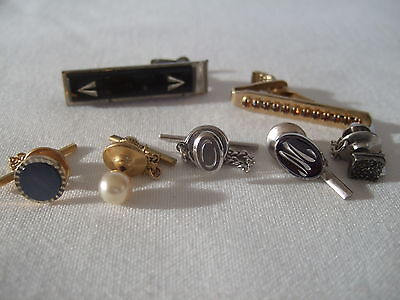 Lot of 7 men's' tie clips and pins