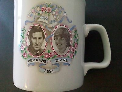 Vintage Prince Charles Diana Spencer Commemorative Wedding Ceramic Mug 1981