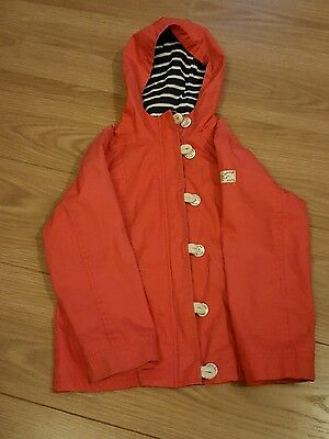 Joules - Girls Rain Coat Jacket - Coral Red - Nautical - Stripes - 9 to 10 years