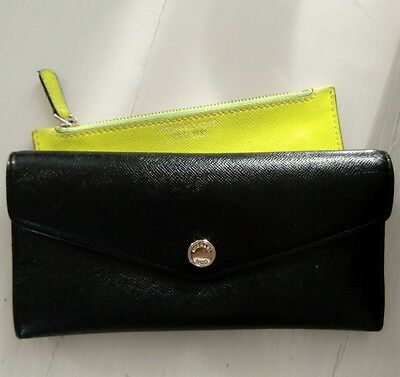 Michael Kors black wallet with neon yellow coin purse