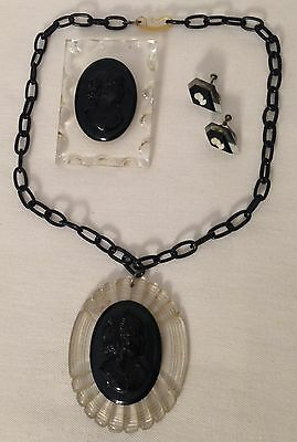 VINTAGE carved LUCITE ENTIRE SET of CAMEO brooch, necklace AND earrings