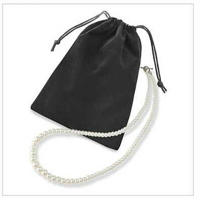 100pcs Black 3x4 Jewelry Pouches Velvet Drawstring Gift Bags FREE SHIPPING