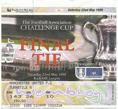 MANCHESTER UNITED v NEWCASTLE UNITED FA CUP Final 1999 MATCH TICKET ORIGINAL