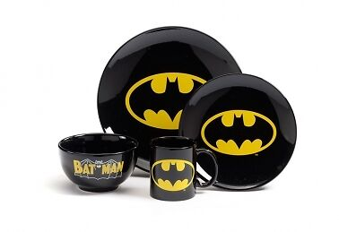D C Comics Batman Logo 4 Piece Black Dinner Set Boxed Official Merchandise