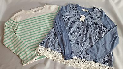 Lot of 2 Girls Tops New and Used Abercrombie LOGG  Blue Green Stripe Size 15 16