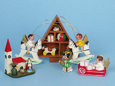 Vintage Lot of Hand Painted Wood Christmas Ornaments Angels Nativity