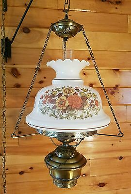 Vtg Quoizel GWTW Rose Glass Shade Hurricane Hanging Swag Lamp Light Chandelier
