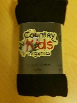 Country Kids Organic Tights-NEW- Black  - 6-8 years
