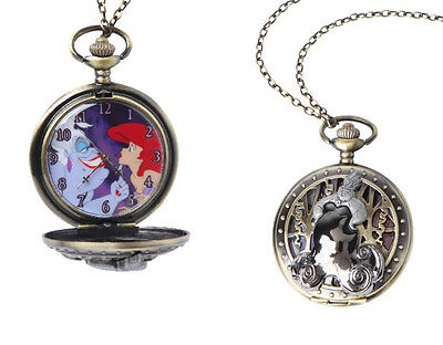 NEW Disney The Little Mermaid Ariel & Ursula Pocket Watch Necklace