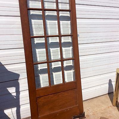 "VINTAGE FRENCH PANTRY SWING DOOR BEVELED GLASS WINDOW PANES 31 1/2"" x 78 1/2"""