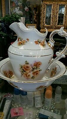 Gorgeous White With Roses Limoges Pitcher & Basin Set.