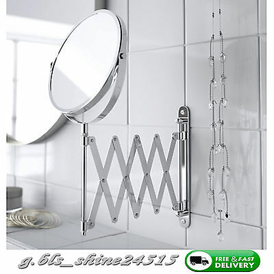 IKEA Extending Makeup Shaving Mirror Stainless Steel 2 Sided Magnifying Make up