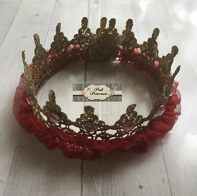 Gold and Red TuTu Tulle Lace Princess Valentines Day Crown, Baby Photo Prop