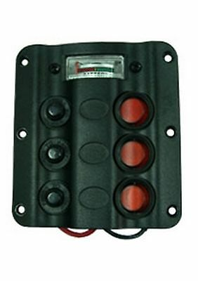 Switch Panel Black 3 Gang  Circuit Breaker & Battery Gauge