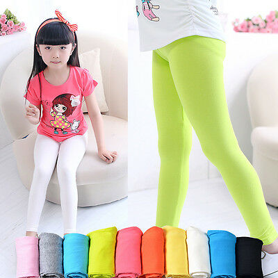 Plain Children Age 2-13 Cotton Full Length Leggings Girls Kids 15 Colours 2017