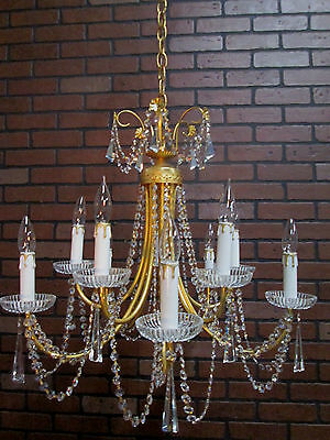 "Vintage Antique Chandelier Gold Strass Lead Crystal Prisms 37"" Fabulous! 10 Arms"