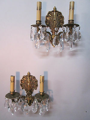 Vintage Antique Pair Spanish Brass Crystal Prism Wall Sconce Lights
