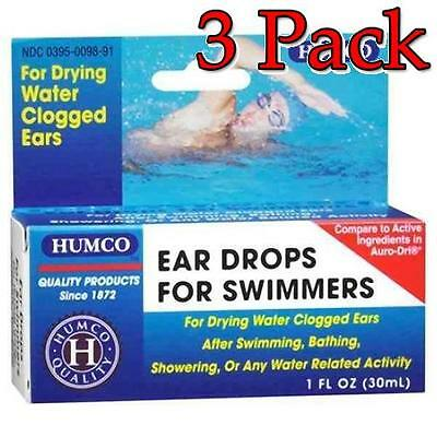 Humco Ear Drops for Swimmers, For Drying Ears, 1oz, 3 Pack 303950098913T286