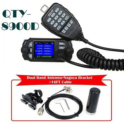 QTY KT-8900D Dual Band Radio Transceiver+HH-N2RS Antenna+Nagoya Mount+16FT Cable