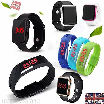LED Watch Sports Silicone Rubber Digital Unisex Women Men Boys Girls Gift UK