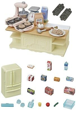 TWO Sylvanian Families Sets - Island Kitchen & Refrigerator Sets