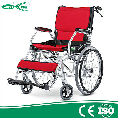 Cofoe lightweight Aluminum Alloy Folding Back Portable Manual Wheelchair red