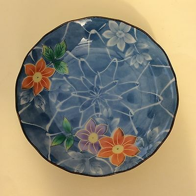 JAPANESE CERAMIC PLATE PIN DISH Signed Bright Floral Modern Design.