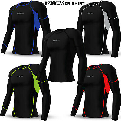 Mens Compression Top Base Layer Activewear Sports Shirt Under Skin Suit Black