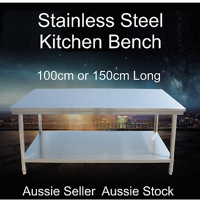 Stainless Steel Kitchen Work Bench 1000 1500mm Prep Catering Table Top 2 Sizes