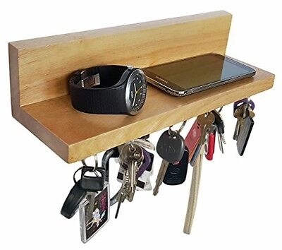 Magnetic Wood Key Ring Holder Shelf for Letter Mail Phone Wall Mounted Organizer