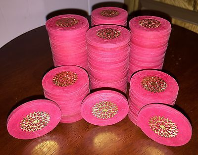 100 Paulson Top Hat & Cane Red Starburst Poker Chips - Awesome Euc