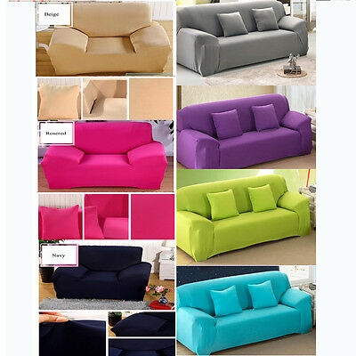 Stretch Fit Sofa Cover Lounge Couch Easy Removable Slipcover Red Washable Brwon