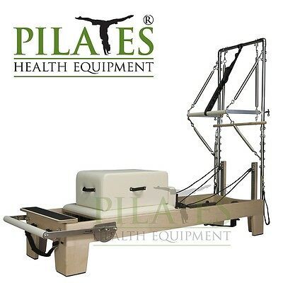 Signature Series Pilates Reformer With Half Trapeze Bundle [Cream Upholstery]