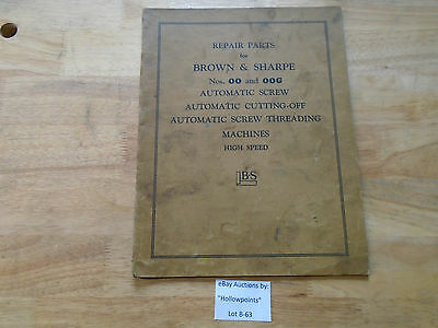 B63 Browne & Sharpe No. 00 G Automatic Screw Cutting Off Threading Machine Parts