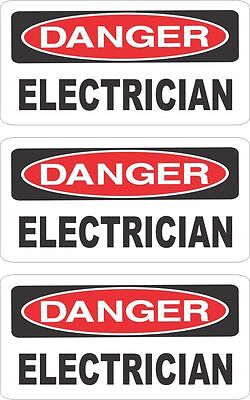Lot Of 3 Danger Electrician  Helmet/hard Hat/toolbox Sticker Decal Hs-5001