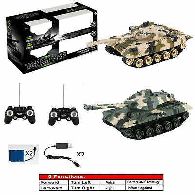 8 Function 1/24 Twin Rechargeable Infrared Fighting Battle Tank Rc Boys Toy Uk