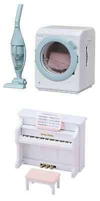 Two Sylvanian Families Toys – Washing Machine with Vacuum Cleaner and Piano