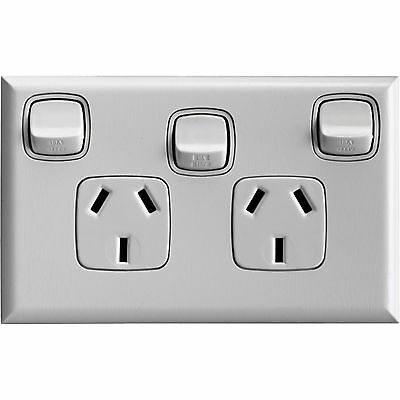 HPM EXCEL DOUBLE POWERPOINT SWITCH & Extra Switch Standard 117x73mm MATT WHITE