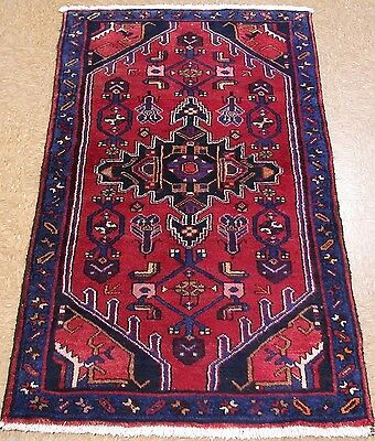 3 x 5 PERSIAN HAMEDAN NOMADIC TRIBAL Hand Knotted Wool REDS BLUES Oriental Rug