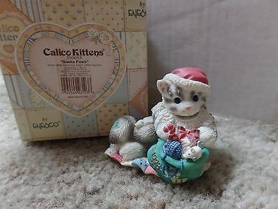 "Calico Kittens ""Santa Paws"" #359653 Enesco 1998 Kitten Figurine for the Holidays"