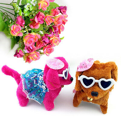 Funny Plush Walking Barking Electronic Dog with Dress Kids Soft Toy Random Color